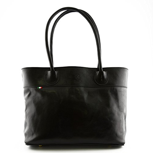 Borsa Donna A Spalla In Pelle Con Scomparto Interno A Zip Colore Nero - Pelletteria Toscana Made In Italy - Borsa Donna