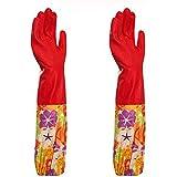 Ferryman Ferryman Küche Gummi Reinigung Handschuhe mit futter Haushalt Haarverdichtung Wasserdichte PU Geschirrspülen Latex Handschuh, groß, rot, Large