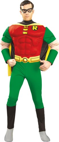 Batman Herren Muskel Kostüm Robin Größe M 48/50 (Robin Und Batman Kostüm)
