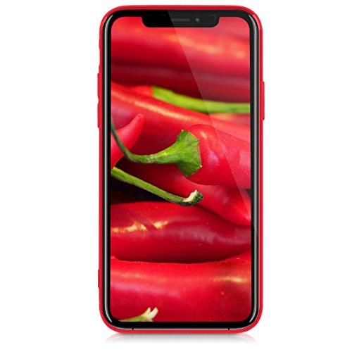 kwmobile Cover per Apple iPhone X - Custodia in silicone TPU - Back case protezione posteriore per cellulare rosso scuro metallizzato Carbone rosso