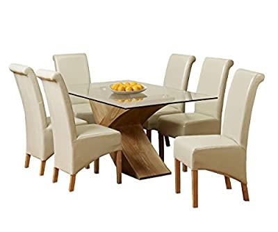 Glass Top Oak Cross Base Dining Table w/ 4 6 Leather Chairs Room Furniture 160cm - low-cost UK light store.