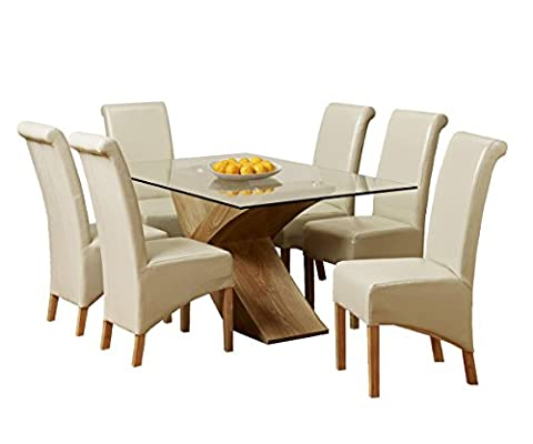 1home Glass Top Oak Cross Base Dining Table Set w/ 4 6 Leather Chairs Room Furniture 160cm (Table with 6