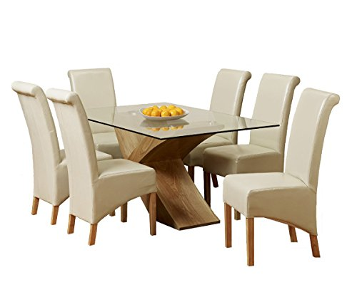 1home Glass Top Oak Cross Base Dining Table Set w/ 4 6 Leather Chairs Room Furniture 160cm (Table with 6 Chairs)
