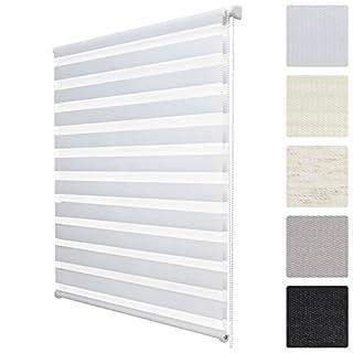 Soldecor DL2 Double Store Enrouleur Jour Nuit - avec ou sans percage - Montage Simple avec Clips Klemmfix - 80x220cm Blanc