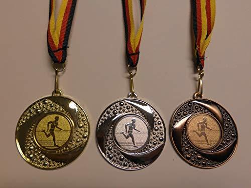 Fanshop Lünen Medaillen Set - 50mm Metall - Leichtathletik - Laufen - Lauf - Alu Emblem Gold, Silber, Bronze - Medaillenset - mit Emblem 25mm - Gold,Silber,Bronce - mit Medaillen-Band - (e219) -