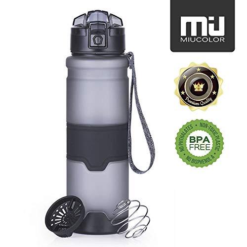 MIU COLOR Trinkflasche- Wasserflasche 1l aus Tritan | Water Bottle - BPA Frei | Ideale Sportflasche (Grau-1000ml)