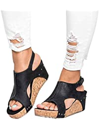 Sandalias con Boca de cuña para Mujer Zapatillas de Piel de Color sólido de tacón Alto
