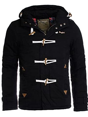 Young & Rich Blouson Veste Jacket Dufflecoat homme les hommes SlimFit JK-414, grösse:xl;Farbe:Noir