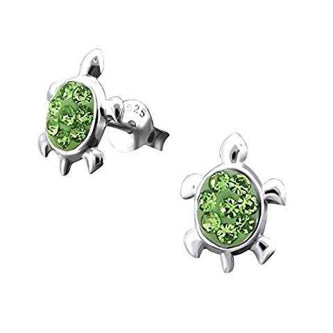 Pair of Small Turtle Sterling Silver Stud Earrings With Green Crystal Stones