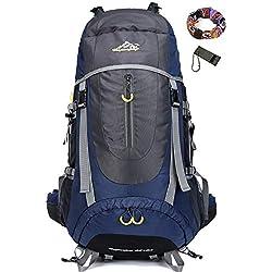 onyorhan 70L Travel Backpack Grande randonnée pédestre Alpinisme Ruck Sack Water Resistang Sac de Bagage pour Les Voyages en Plein air Escalade Camping (Bleu Marin)