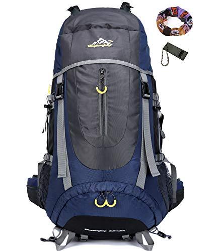 70L Trekkingrucksacke Rucksäck Wanderrucksäcke Reiserucksack Damen Herren (Navy blau)