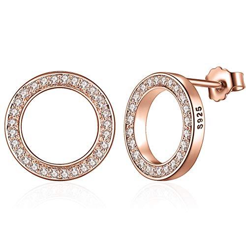 BTOLLA Donne 925 sterline d'argento Orecchini, Oro rosa Piccolo Cerchio Perno Orecchini con Cubic Zirconia simulata Diamante Regali per Signora Ragazze
