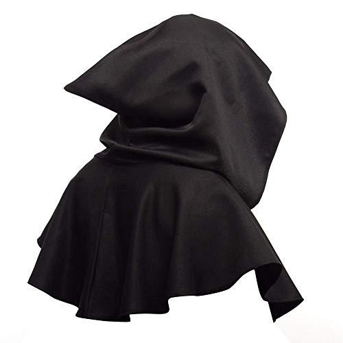 GCDN Unisex Cowl Hut Poncho Cape Kapuzenuhr Maskerade Hexerei Heidenkunst Halloween Hexe Zauberer Umhang, Schwarz, Free Size