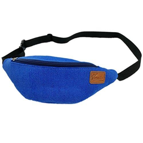 Gürteltasche Bauchtasche Hüfttasche Tasche Wandertasche Sporttasche Trekking Wandern bag aus Filz mit Echtleder-Applikationen (Grau) Blau hell