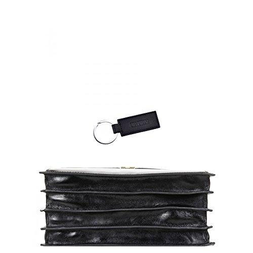 Charmoni-Asciugamano Cartella valigetta con 4 alette, in pelle di vacchetta nuovo Gauvain Nero