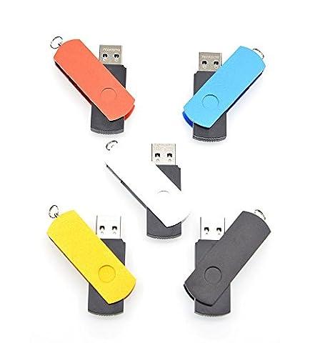 FEBNISCTE 5 Stück Einklappbarer Mehrfarbige 16GB USB3.0 Flash Laufwerke Stick