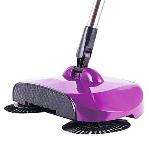 UKGOOD Nouvelle Rotation automatique de 360 degrés en 3-en-1 Tuyau télescopique à main poussiéreuse à main sans électricité à usage non électrique multifonctionnel Sweeper Broom Floor Cleaner Dustpan Trash Bin Set (violet)