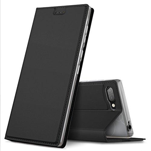 GeeMai Blackberry Key2 Hülle,Leder Hülle Flip Case Hüllen Schutzhülle handyhüllen für Blackberry Key2 Smartphone, Schwarz