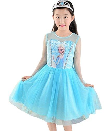 tüm Frozen mit Druck von Elsa–Alle Größen 120 = 4-5 ANNI blau (Baby Frozen Kostüme)