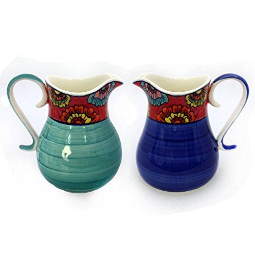 Gall&Zick Krug Kanne Karaffe Wasserkrug Saftkrug Keramik Bemalt Wasserkaraffe Getränke Milchkanne Sahnekännchen (Türkis)