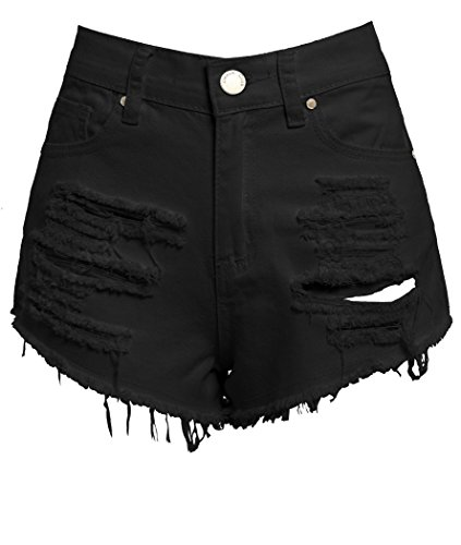 SS7 New Women's High Waisted Ripped Shorts, Black, White, Sizes 6 to 14