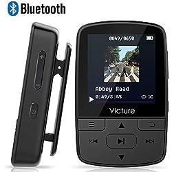 Victure Lecteur MP3 Bluetooth 4.1 8Go Lecteur Baladeur avec Pince, Podomètre, Radio FM, Enregistrement Vocal, Port Carte SD