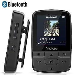 Victure Bluetooth MP3 Player 8GB Mini Sport Musik Player mit Clip, 30 Stunden Wiedergabe Musikplayer mit FM Radio, Unterstützt bis 128 GB SD Karte