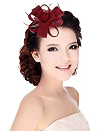 Eozy Women Feather Flower Fascinator Wedding Party Decorative Hairpin