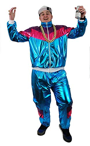 Men's Shiny Metallic Shellsuit with Elasticated Waist and zip-up jacket.. Sizes M, L, XL, XXL