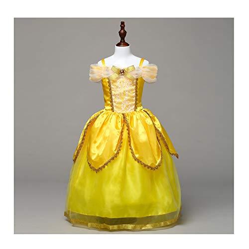 KLJJQAQ Engel Mädchen Prinzessin Belle Kostüm Prinzessin Dress Up Halloween Party Kleider,100cm (Halloween Belle Kostüm)
