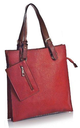 Big Handbag Shop, Borsa tote donna Rosso - Rosso