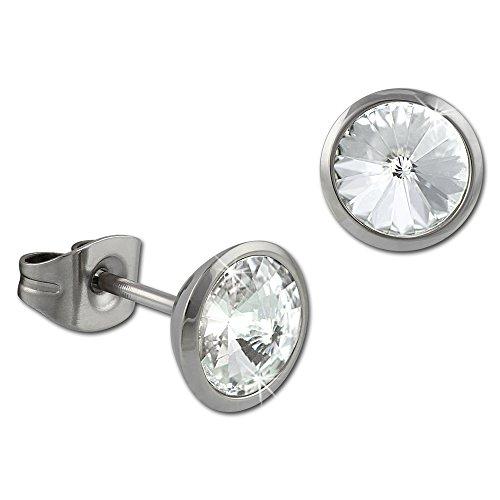 SterlinX Ohrring / Ohrstecker mit strahlenden Swarovski Elements - weiß - aus Edelstahl für Damen D1ESOS07W