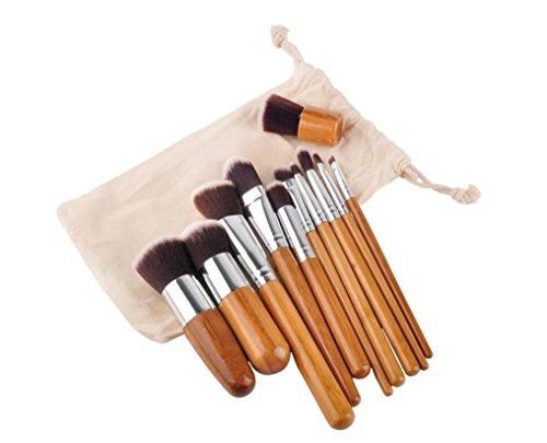 HZS Brosses de Maquillage Pinceau de Bambou Brosses de Maquillage avec cosmétiques Pinceaux Sac de Voyage Ensemble de Brosse à Maquillage Naturel Kabuki Doux Ensemble de Brosse à Maquillage 11 pièces
