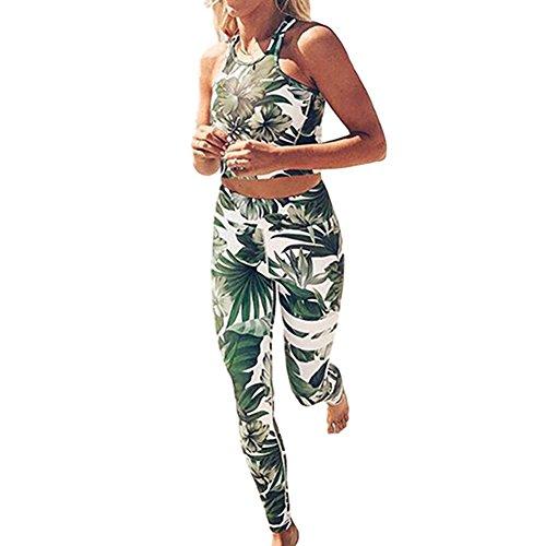 Dotbuy Bekleidung Yoga Set, Komfort Damen Sport BH Jogginghose Sport Leggings Yoga Hose Trainingshose Sport Bustier ohne Bügel Yoga Fitness Training (S, Grün)