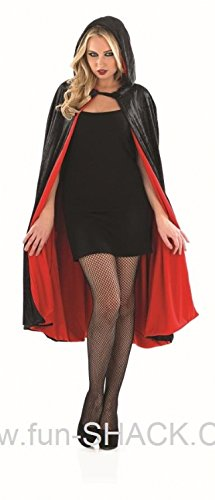 Red Velour Hooded Cape Short Length Adult Womens Halloween Costume