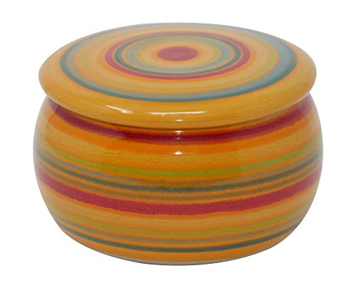 Unbekannt original französische wassergekühlte Keramik butterdose, Immer frische und streichfähige Butter, ca 250gr Butter, bunt orange B-G