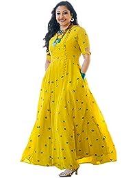 Fabsom Women's Long Embroidered Kurti, Yellow