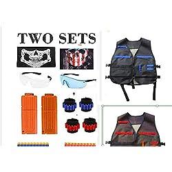 Gilet Tactique pour Enfant, joylink 92 Pcs Veste Gilet Kit pour pistolets Nerf, série N-Strike Elite avec 2 pinces de rechargement, 4 bandes de poignet, 2 lunettes, 2 masques, 80 fléchettes