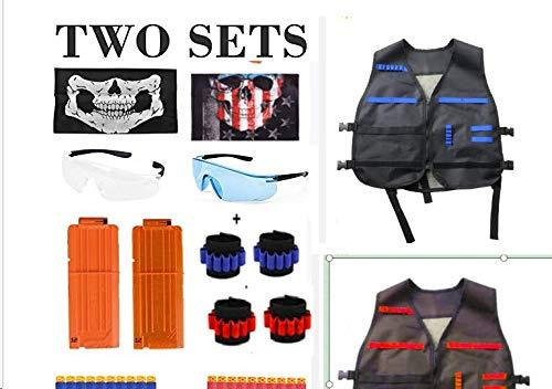 Taktische Weste, joylink 2er-Set Red & Blue Nerf Zubehör Set Kids für Nerf-Pistolen Elite-Serie mit 2 Reload-Clips, 4 Handgelenkband, 2 Schutzbrillen, 2 Tube-Gesichtsmaske, 80 Nachfüll-Schaumpfeilen