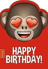 Idea Regalo - Emoticon / Emote / Emoji Scimmia Cuore Occhi Biglietto Di Auguri Compleanno