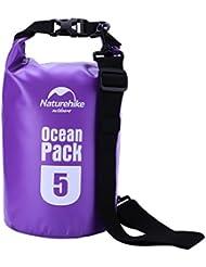OUTAD Impermeable Bolsa Seca, 5L al aire libre bolsa impermeable bolsa de almacenamiento para Camping Canotaje Kayak Pesca Rafting natación canotaje Snowboard, morado