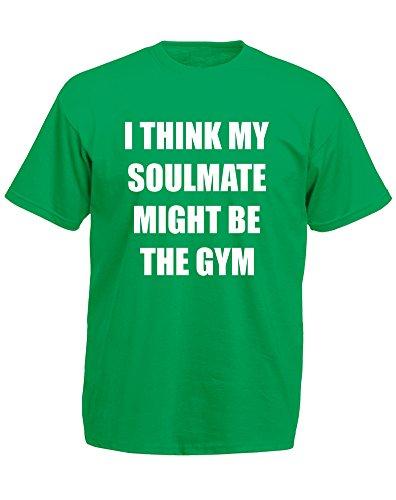 Brand88 - Soulmate Might Be the Gym, Mann Gedruckt T-Shirt Grün/Weiß