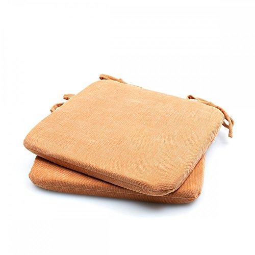 Baumwoll-satin-matratze-auflage (2er - 4er Pack Baby Cord Stuhlkissen Stuhlauflage Bodenkissen Sitzkissen Auflage, Farbe:2er Pack TERRA)
