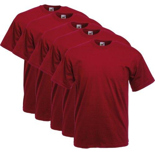 fruit-of-the-loom-uomo-maglietta-5-packregular-fit-11182v-cotone-rosso-100-cotone-uomo-m