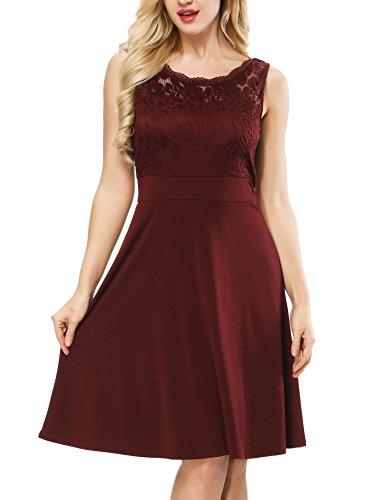 Akivide Damen Elegant Partykleid Vintage Spitzen Kurz Brautjungfern Sommerkleid Rot 2XL