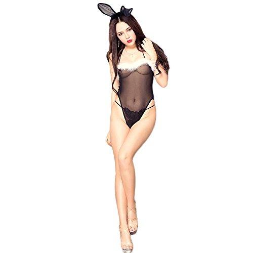 FGDJTYYJ Frauen Santa Claus Kostüm Bunny NET Garn Dew Back Outfit Weihnachten Dessous Nightclub Party Uniformen Paare Passion (Black Santa Kostüm)