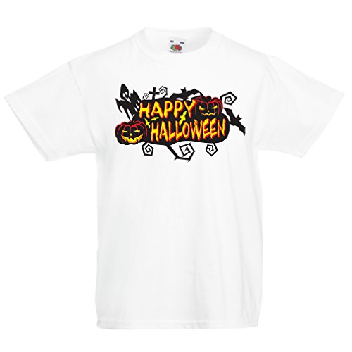 Kinder T-Shirt Owls, Bats, Ghosts, Pumpkins - Halloween Outfit Full of Spookiness (7-8 Years Weiß Mehrfarben) Cranberry Flash