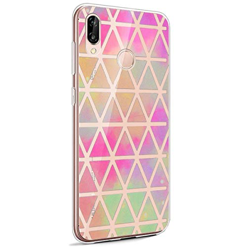 Coque Huawei P20 Lite,Huawei P20 Lite Housse Silicone Etui,Surakey Étui TPU Silicone Souple Coque Clair Transparent Cover Ultra Mince Soft Case Housse Protection pour Huawei P20 Lite (Plaid Rose)