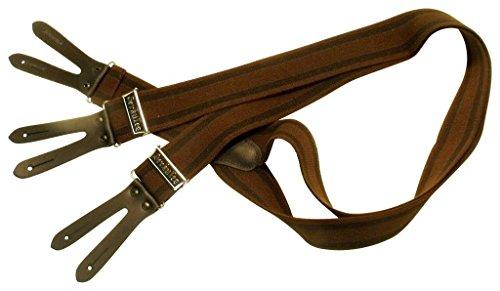 Teichmann Biker-Hosenträger im Patten-Stil | Braun-gestreift | Damen und Herren | One Size 120 cm | Anzug-Hosenträger | Arbeitskleidung-Hosenträger