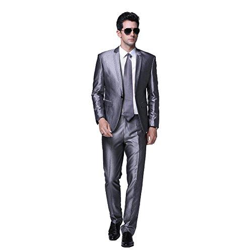 Costume Homme Formel Deux-Pièces Une Bouton Business Mariage Slim Fit Blazer Mode Elégant Classiqu
